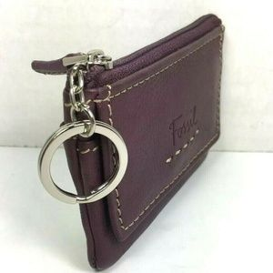 Fossil Purple Leather Coin Purse Card/ID/Key Pouch